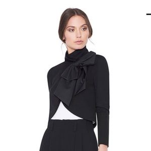 Alice and Olivia Addison Bow Collar Crop Jacket, L
